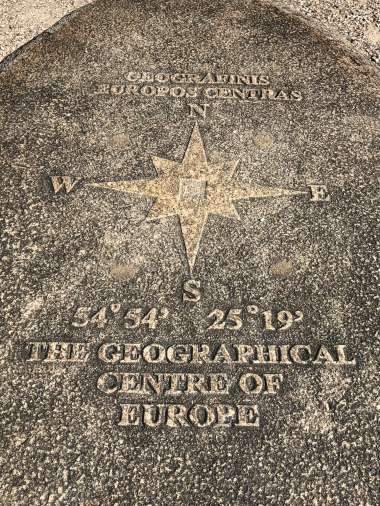 Plaque designating the center of Europe (by at least one measure)