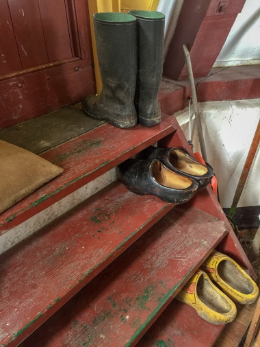 Wooden shoes inside a windmill