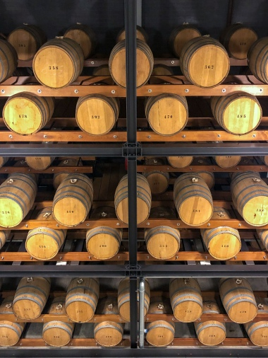 Barrels of jenever at Nolet distillery