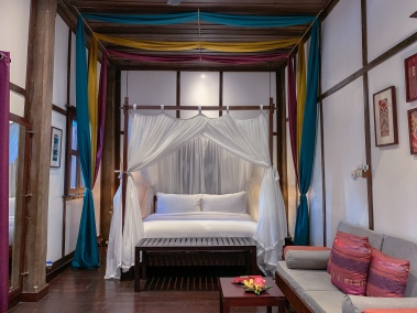 Guest room inside the historic 3 Nagas
