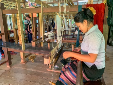 Traditional weavers at the Living Craft Center