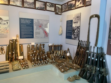 Display of unexploded ordinance (bombs, grenades, and other devices) at the UXO Lao Centre