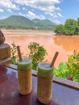 Smoothies at the Viewpoint Restaurant, at the confluence of the Nam Khan and Mekong Rivers