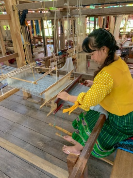 Traditional weaver at the Living Craft Center